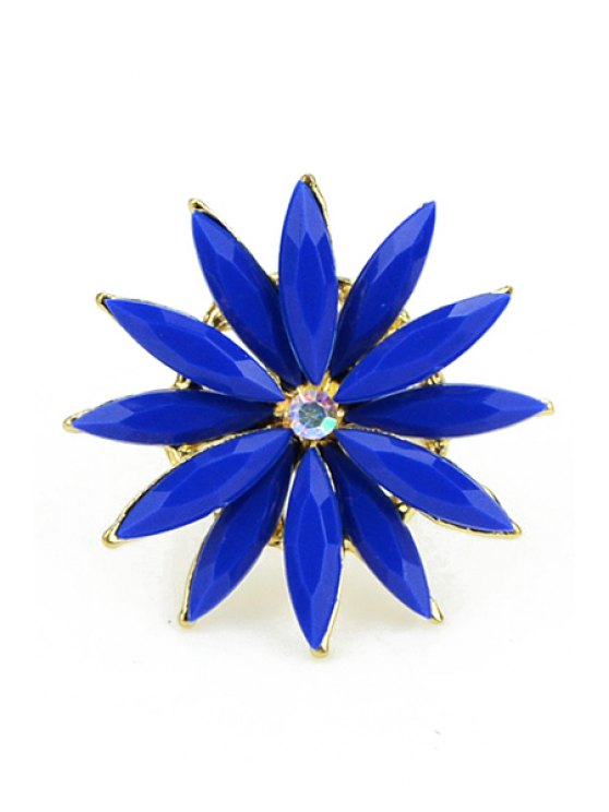shops Faux Gem Decorated Flower Ring - BLUE ONE SIZE