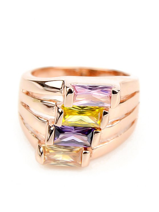 chic Faux Gemstone Decorated Ring - GOLDEN ONE-SIZE