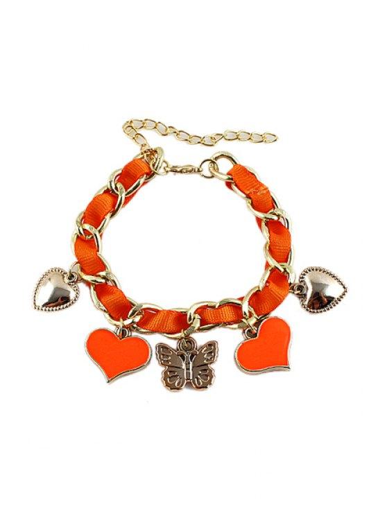 online Heart Pendant Bracelet - ORANGE