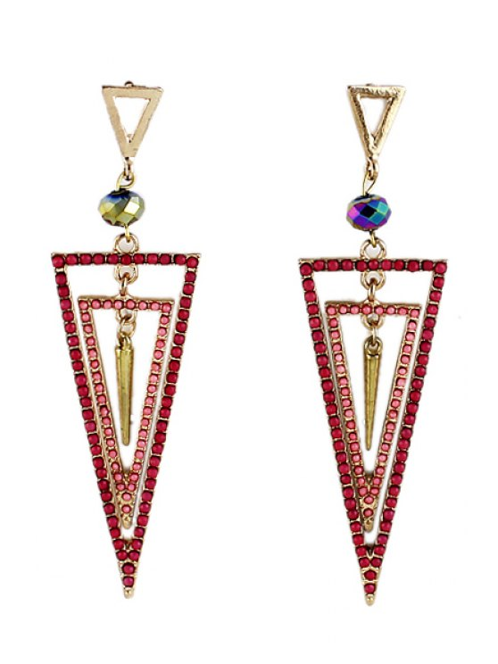 affordable Pair of Rhinestone Triangle Earrings - RED