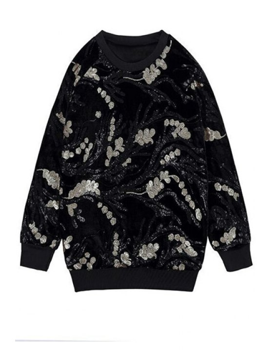 best Long Sleeve Sequins Sweatshirt - BLACK ONE SIZE(FIT SIZE XS TO M)