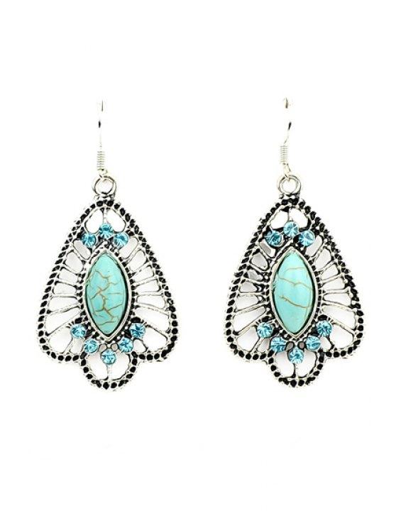 women's Pair of Rhinestone Special Earrings - GREEN