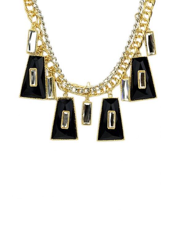 fancy Faux Gemstone Geometric Pendant Necklace - BLACK