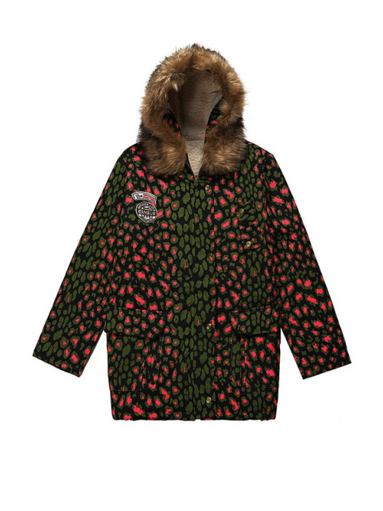 sale Leopard Hooded Long Sleeve Coat - COLORMIX ONE SIZE(FIT SIZE XS TO M)