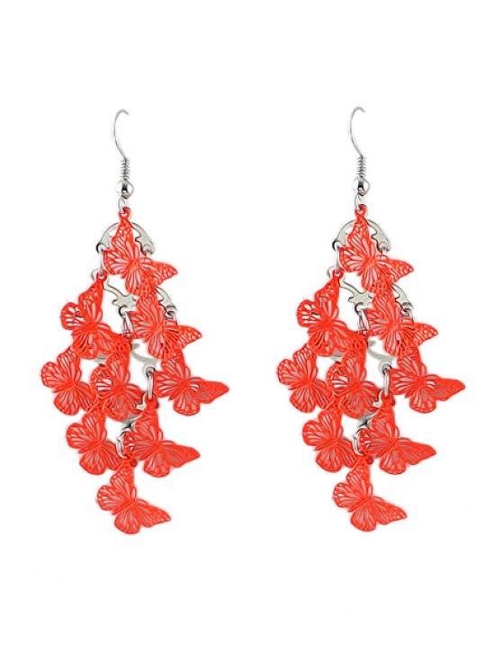 latest Pair of Butterfly Pendant Earrings - ORANGE