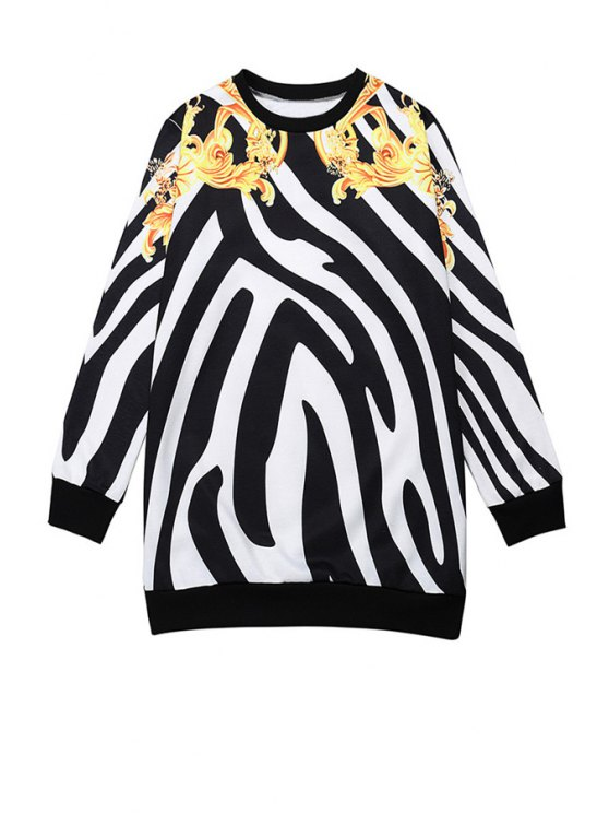 outfits Zebra Striped Long Sleeve Sweatshirt - WHITE AND BLACK ONE SIZE(FIT SIZE XS TO M)