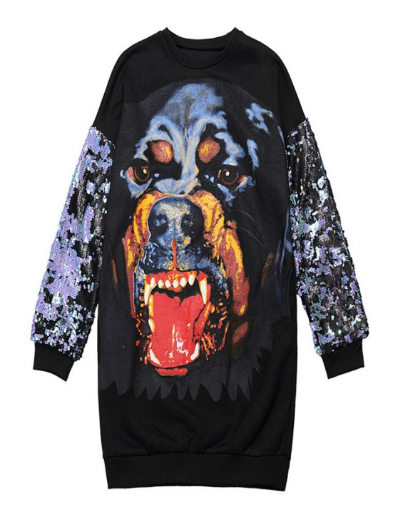 shop Dog Print Sequins Splicing Sweatshirt - BLACK ONE SIZE(FIT SIZE XS TO M)