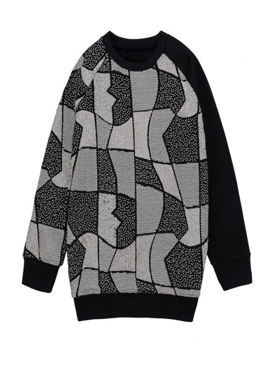 latest Geometric Sequins Long Sleeve Sweatshirt - BLACK ONE SIZE(FIT SIZE XS TO M)