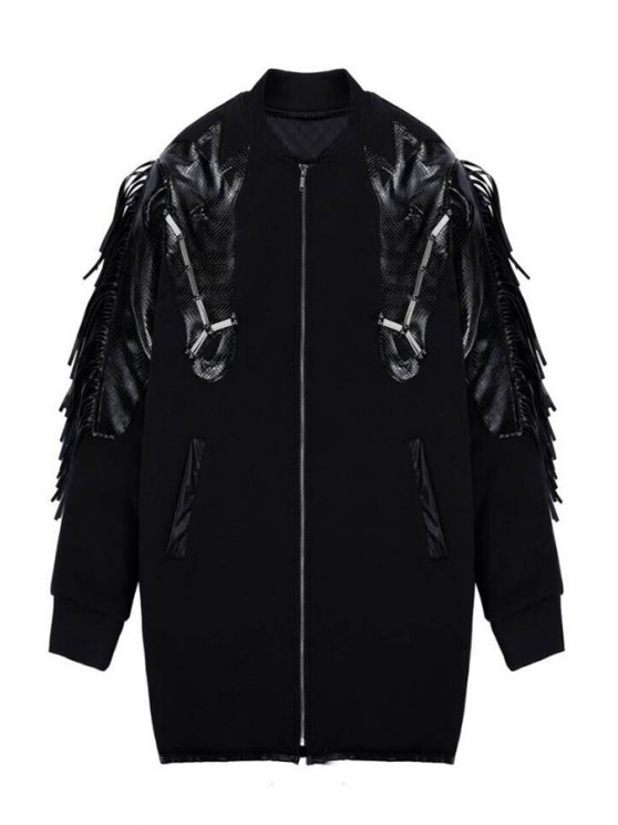 women Black PU Leather Splicing Fringe Coat - BLACK ONE SIZE(FIT SIZE XS TO M)