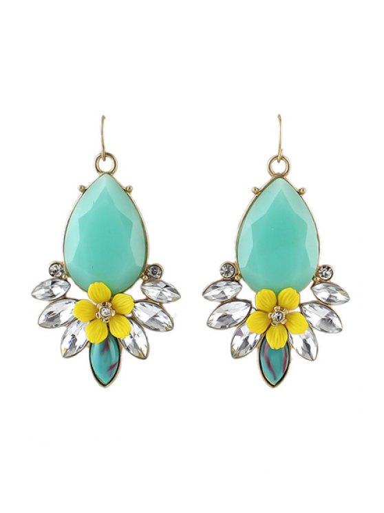 chic Pair of Faux Gem Flower Pendant Earrings - AS THE PICTURE