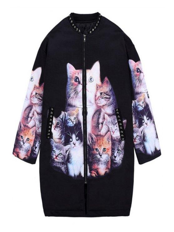ladies Kitten Print Rivet Coat - BLACK ONE SIZE(FIT SIZE XS TO M)
