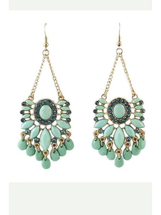 buy Pair of Faux Gem Earrings - GREEN