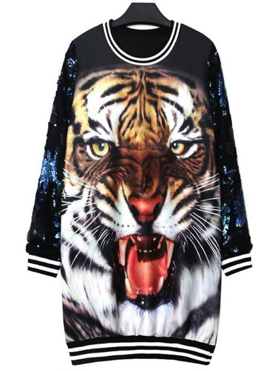 outfit Tiger Print Long Sleeve Sequins Dress - BLACK ONE SIZE(FIT SIZE XS TO M)