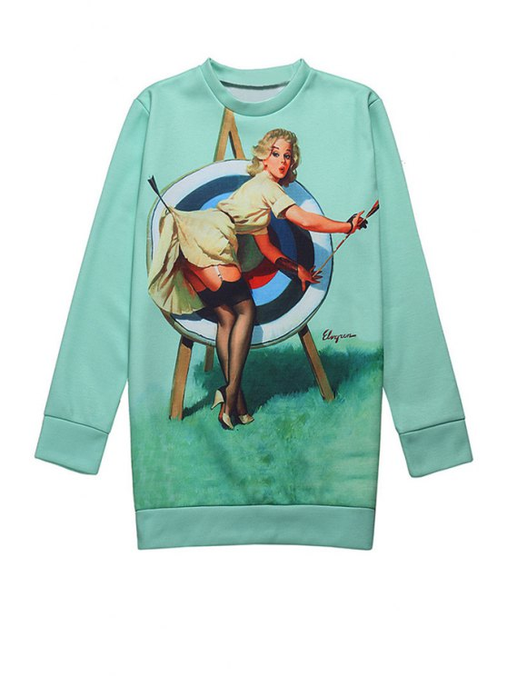 chic Woman Print Long Sleeve Sweatshirt - GREEN ONE SIZE(FIT SIZE XS TO M)