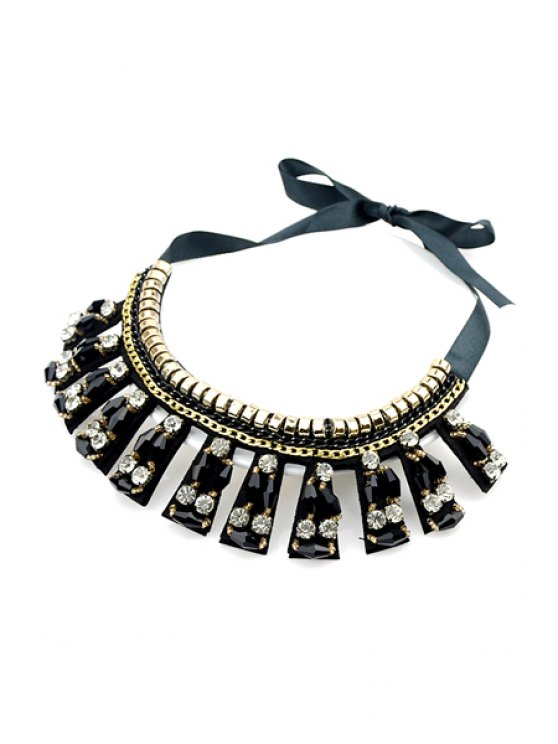 sale Faux Gemstone Decorated Necklace - BLACK