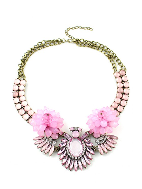 ladies Faux Gemstone Embellished Pendant Necklace - PINK