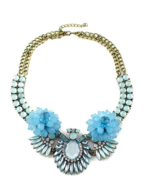 women's Faux Gemstone Embellished Pendant Necklace - BLUE