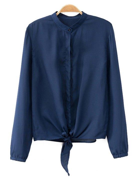 trendy Front Tied Mandarin Collar Shirt - BLUE S