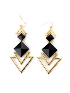 Pair Of Faux Gem Decorated Triangle Pendant Earrings - Black