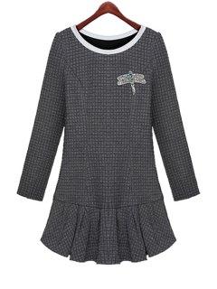 Ruffles Long Sleeve Diamante Dress - Gray Xl
