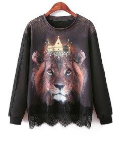 Lion Print Lace Splicing Sweatshirt - Black
