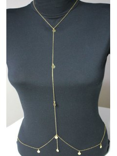 Infinite Sequins Embellished Body Chain - Golden