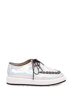 Square Toe Weaving Lace-Up Flat Shoes - Silver 36
