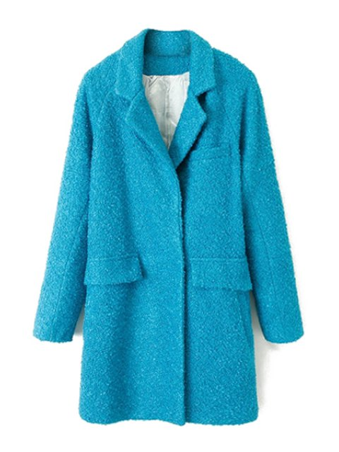 affordable Solid Color Long Sleeve Coat For Women - BLUE M Mobile