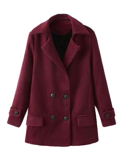 fancy Solid Color Long Sleeve Lapel Coat - DARK RED M Mobile
