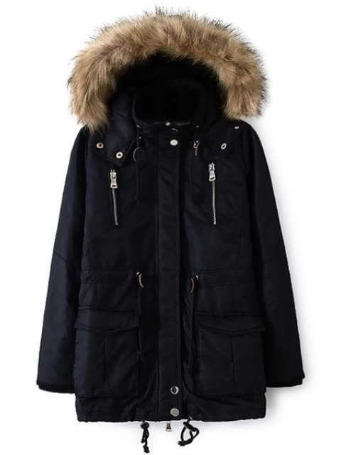hot Solid Color Faux Fur Hooded Coat - CADETBLUE S Mobile