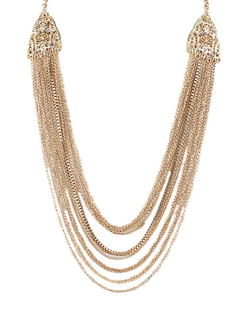 fancy Multi-Layered Tassels Pattern Pendant Necklace - GOLDEN  Mobile