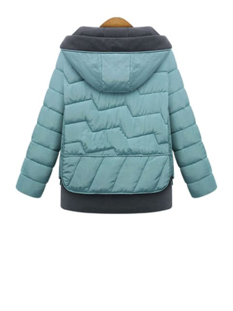 outfits Hooded Color Block Coat - BLUE XL Mobile