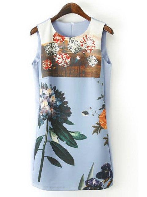 lady Floral Print Jewel Neck Sundress - BLUE S Mobile