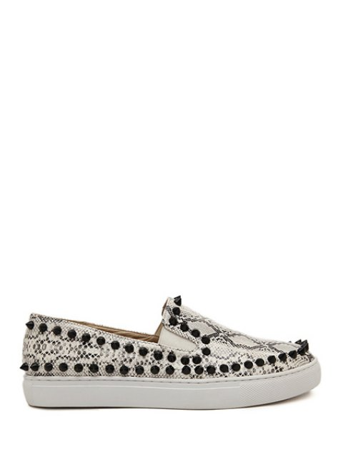 buy Snake Print Round Toe Rivets Flat Shoes - SILVER GRAY 35 Mobile