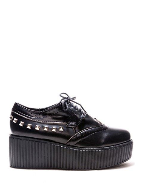 ladies Rivets Hollow Out Platform Shoes - BLACK 37 Mobile
