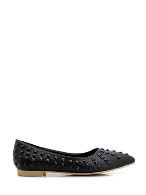 shops Pointed Toe Rivets Flat Shoes - BLACK 37 Mobile