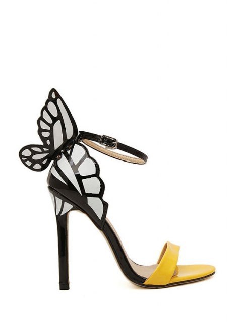 lady Butterfly Color Block Stiletto Heel Sandals - YELLOW 35 Mobile