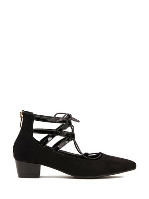 trendy Hollow Out Pointed Toe Lace-Up Pumps - BLACK 37 Mobile