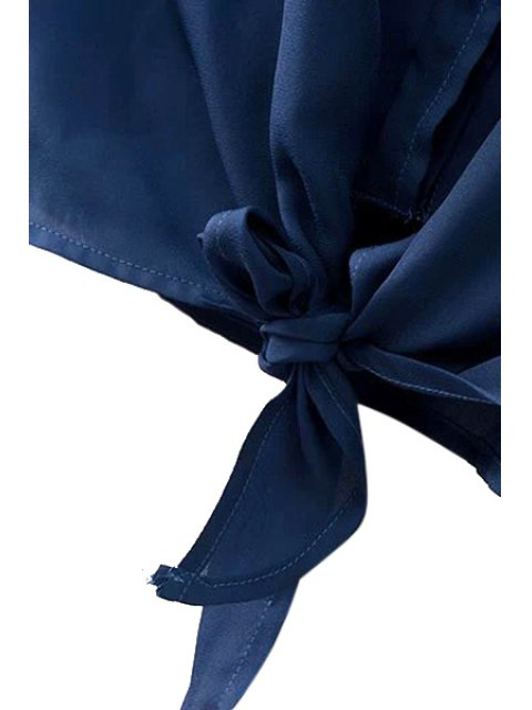 fashion Front Tied Mandarin Collar Shirt - BLUE M Mobile