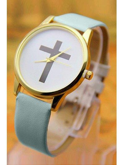 PU Leather Cross Pattern Watch - BLUE  Mobile
