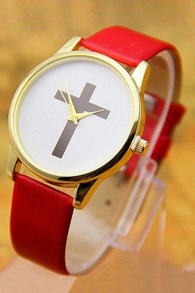 PU Leather Cross Pattern Watch - RED
