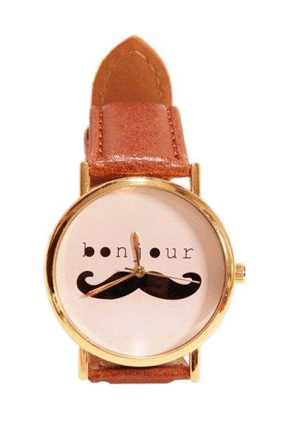 Mustache Letter Pattern Watch - BROWN