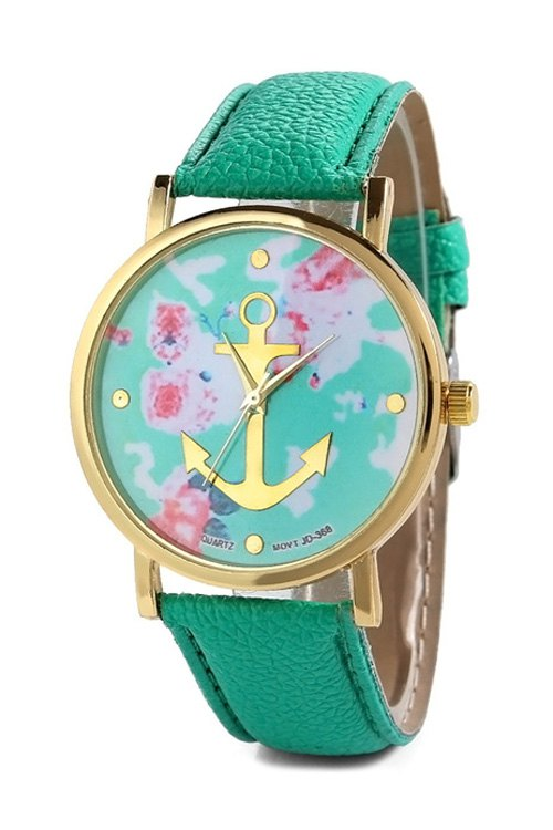 Anchor Design Printed Watch - MINT GREEN