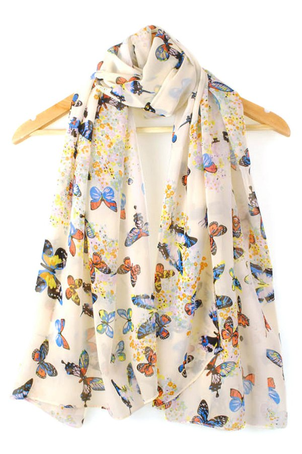 Butterfly Print Scarf For Women