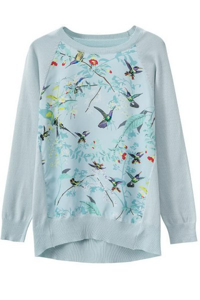 Print Splicing Long Sleeve Knitwear