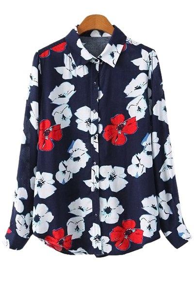 Flower Print Long Sleeve Shirt - BLUE S