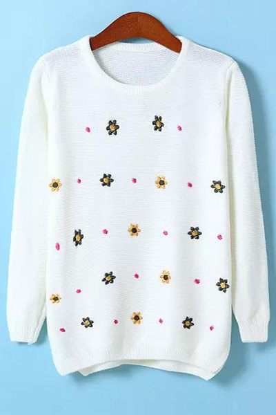 Flower Embroidery Jewel Neck Sweater - WHITE ONE SIZE(FIT SIZE XS TO M)