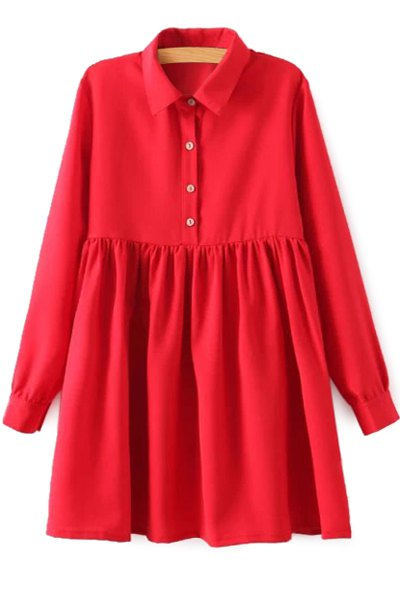 Red Long Sleeve Breasted Dress 112567003