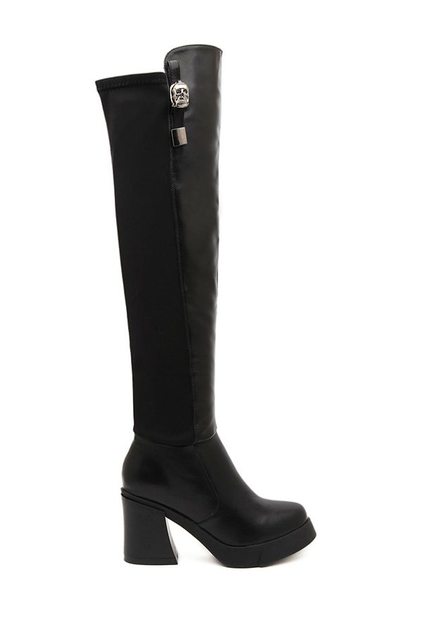 Black Metallic Chunky Heel Thigh Boots - BLACK 35