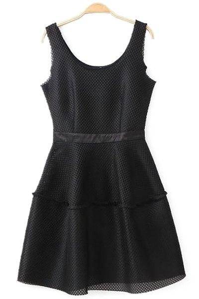 Solid Color Mesh Design Sundress - BLACK S